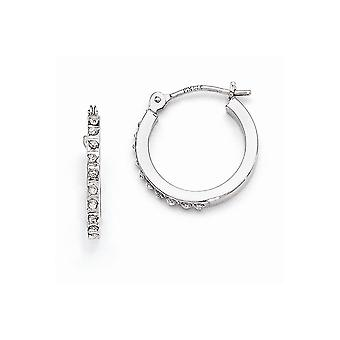 14k White Gold Hinged Polished Diamond Fascination Leverback Hoop Earrings - .01 dwt