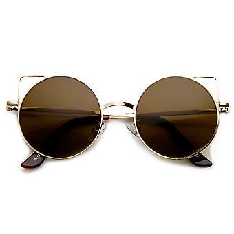 Womens Thin Metal Cut-Out Geometric Round Cat Eye Sunglasses