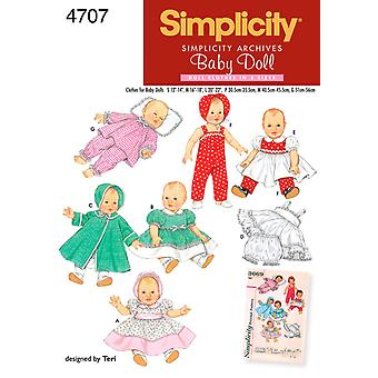 Simplicity Baby Doll Clothes In Three Si S,M,L U04707a