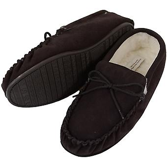 Mens Brown Moccasin Sheepskin Slipper with Hard Sole