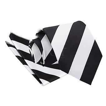 Men's Striped Black & White Tie 2 pc. Set