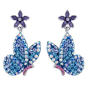 Butler & Wilson Blue Butterfly & Flower Drop Earrings
