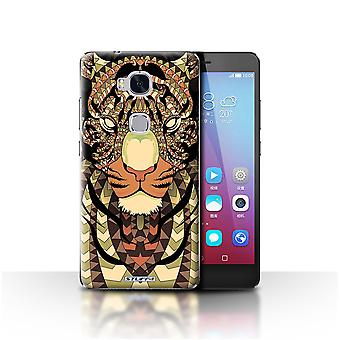 STUFF4 Case/Cover for Huawei Honor 5X/GR5/Tiger-Sepia/Aztec Animal