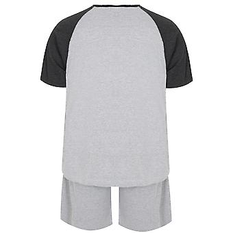 BadRhino grijs mergel Raglan T-Shirt en Shorts Lounge Set