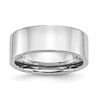 Cobalt krom flad Band Engravable poleret 8mm Band Ring - Ring størrelse: 7-13