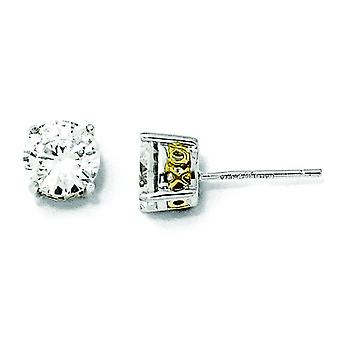 Sterling Silver and Gold-plated 6.5mm X and O CZ Stud Earrings