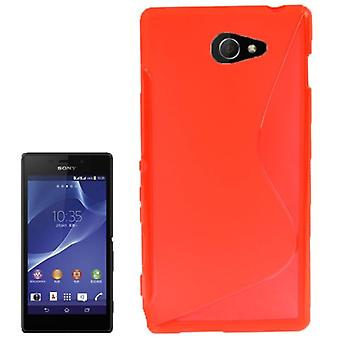 S line TPU case bag for Sony Xperia M2 S50h Red