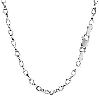 14 k wit goud ovale Rolo Link Chain ketting, 3.2 mm, 18