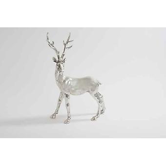 Décoration d'arbre de Noël de cerf métal argent 38cm Noël