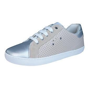 Geox J Kiwi G Girls Leather Trainers / Shoes - Skin and Silver