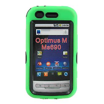 Dual Snap-on Hard Case for LG Optimus M MS690 (Green/Black)