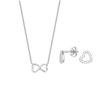 ESPRIT ladies necklace jewelry set silver cubic zirconia heart ESSE91036A420