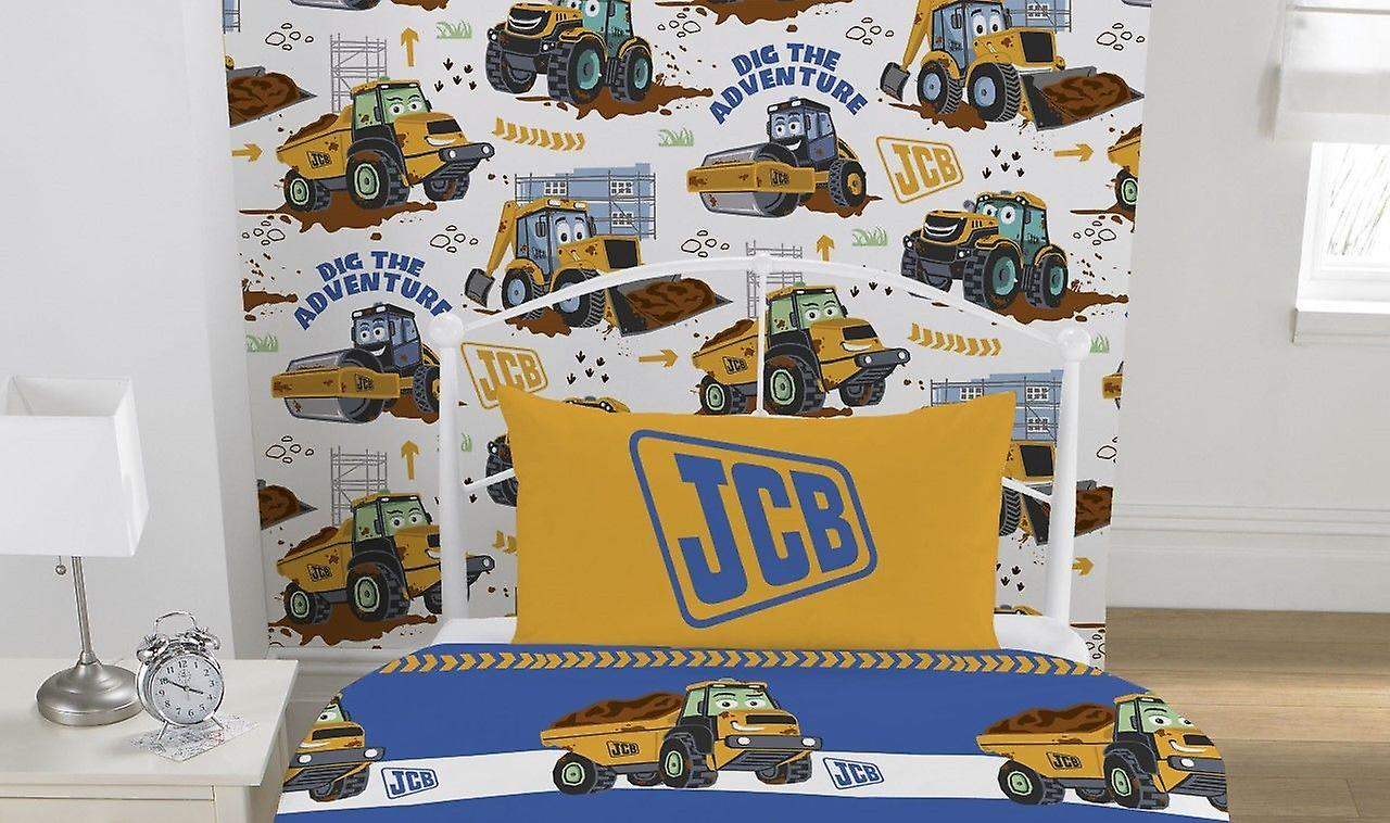 Kids Digger Wallpaper JCB Truck Boys Bedroom Collage White Yellow Brown Debona