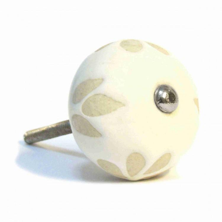 Cream With Beige Leaves Ceramic Knob