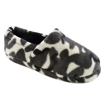 Niños chicos SlumberzzZ Full Camo diseño impresión paño grueso y suave zapatillas con tacón elástico
