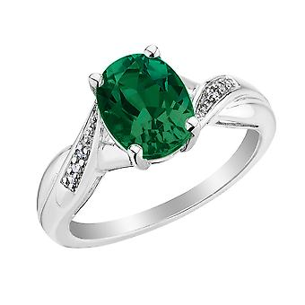 Created Emerald Ring with Diamonds 2.0 Carat (ctw) in Sterling Silver