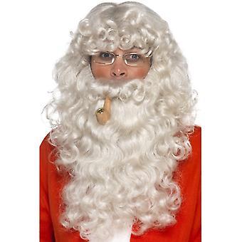 Santa Claus kostym ställa 4-piece skägg peruk glasögon pipe Christmas Santa inställd