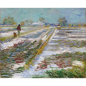 Vincent Van Gogh - Landscape with Snow, 1888 Poster Print Giclee
