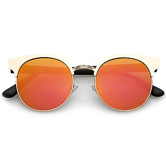 Modern Horn Rimmed Colored Mirror Flat Round Lens Half Frame Sunglasses 52mm