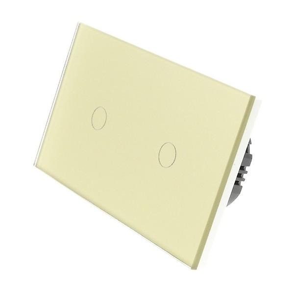 I LumoS or Glass Double Panel 2 Gang 1 Way Touch Dimmer LED lumière Switch