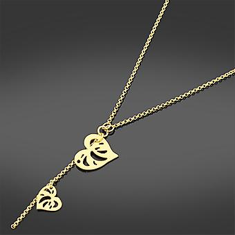 Gold Fashionable Double Heart Necklace