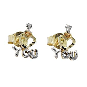 Earrings gold earring I LOVE YOU heart plug love bicolor, 9 KT GOLD 375