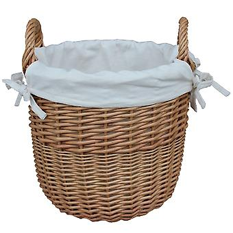 Small Wicker Linen Basket with a White Cotton Lining