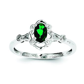 Sterling Silver polerat öppna tillbaka rodium-plated skapade Emerald och Diamond Ring - Ring storlek: 5 till 10