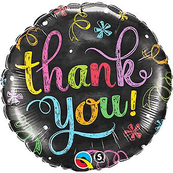 Qualatex 18 Inch Round Thank You Chalkboard Design Foil Balloon