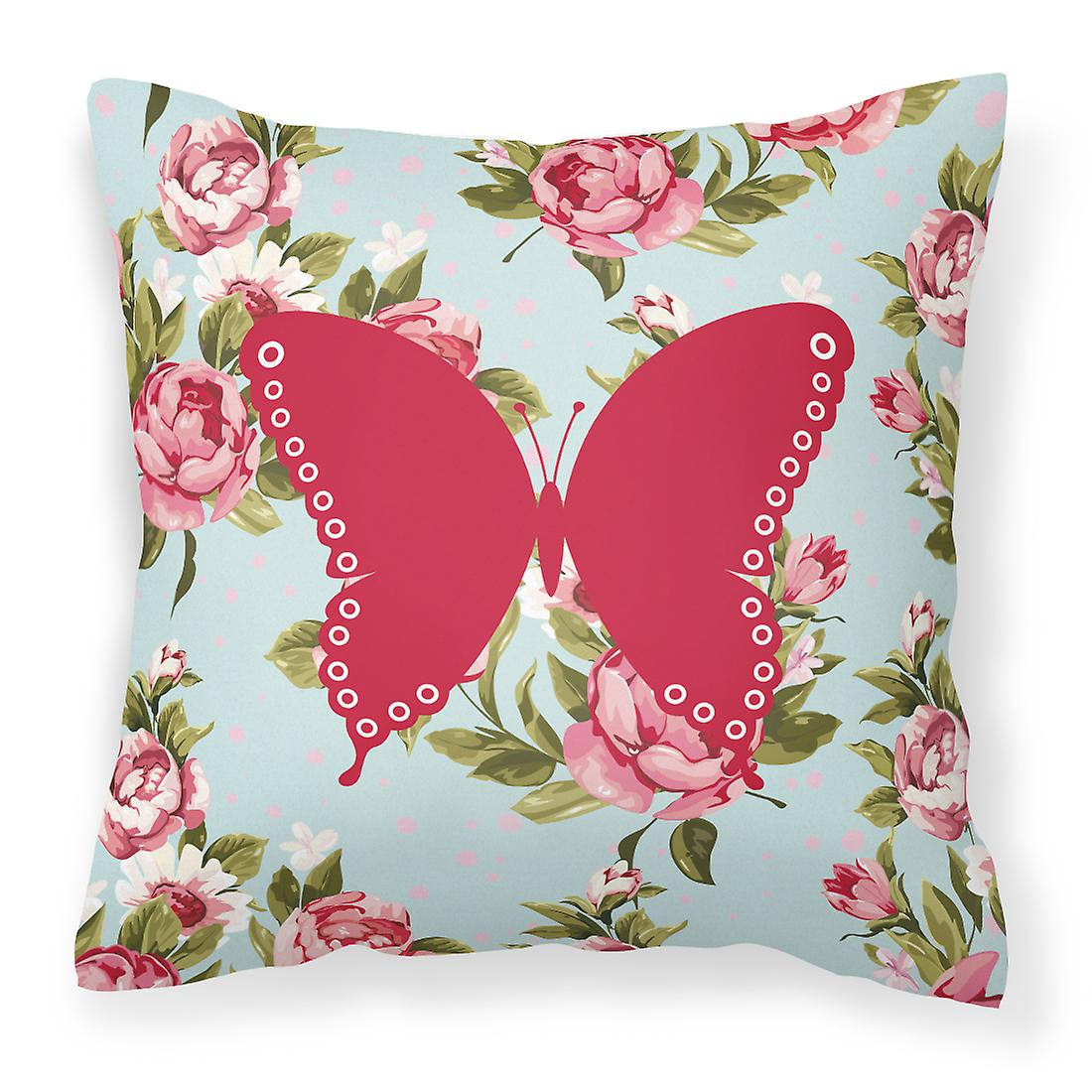 Roses Oreiller Bleu Décoratif Minable Chic Toile Papillons Bb1036 Tissu A4R35Lj