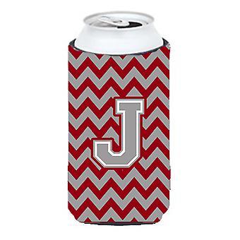 Bokstaven J Chevron Crimson och grå lång pojke dryck isolator Hugger