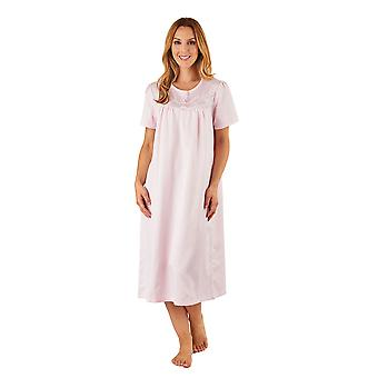 Slenderella ND8235 Women's Pink Satin Night Gown Short Sleeve Nightdress