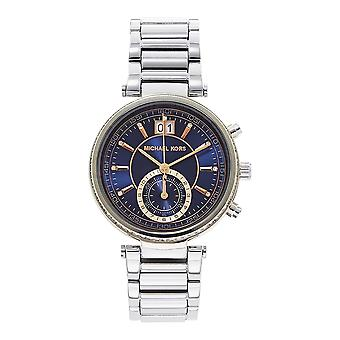Michael Kors Watches Mk6224 Sawyer Navy, Rose Gold Dial & Silver Stainless Steel Chronograph Ladies Watch