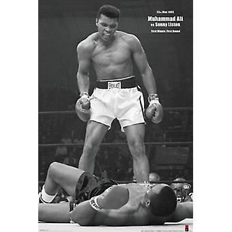 Muhammad Ali - 1965 1st Round Knockout Against Sonny Liston Poster Print (24 x 36)