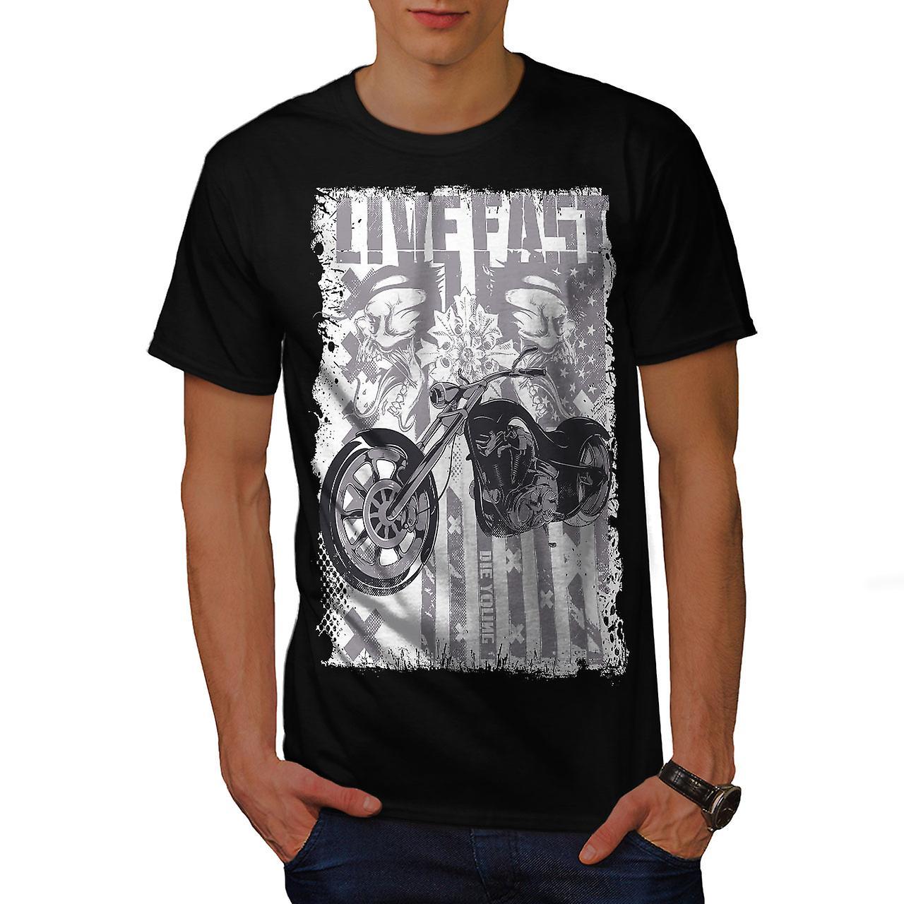 Live USA Flag Biker Men Black T-shirt | Wellcoda