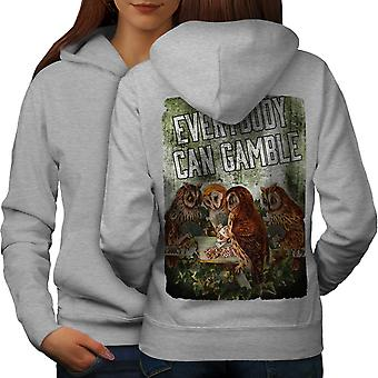 Gamble gufo Poker Casino donne GreyHoodie Back | Wellcoda