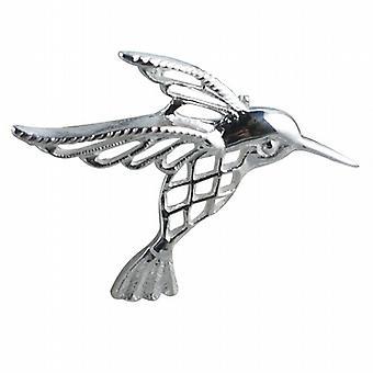 Silver 30x40mm Humming bird Brooch