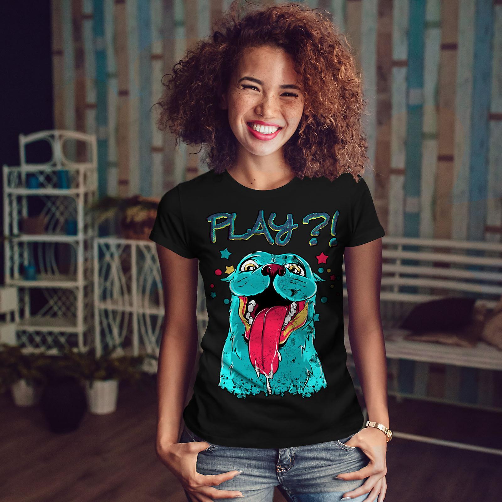 Play Cute Beast Animal Women BlackT-shirt   Wellcoda