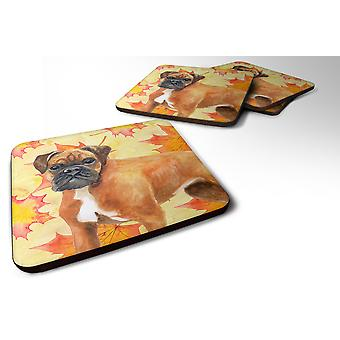 Carolines Treasures  BB9901FC Set of 4 German Boxer Fall Foam Coasters Set of 4