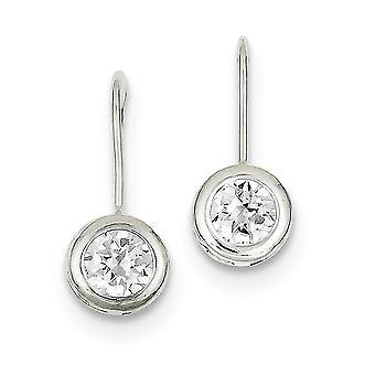 Sterling Silver Solid Bezel Polished Open back Shepherd hook Round Cubic Zirconia Earrings