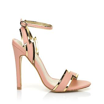FLASH Baby Pink PU Leather Peep Toe Ankle Strap Stiletto High Heel Sandals