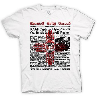 Camiseta para hombre - titular de periódico Roswell - UFO - Alien - conspiración