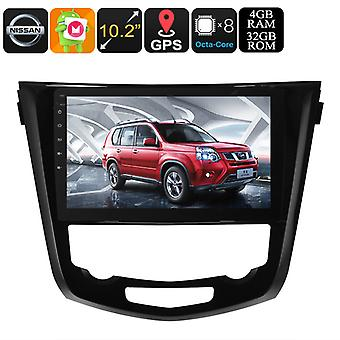 1 DIN Car Stereo - For Nissan X Trail, Android 8.0, Bluetooth, WiFi, 3G Dongle Support, GPS, CAN BUS, Octa-Core CPU, 4GB RAM