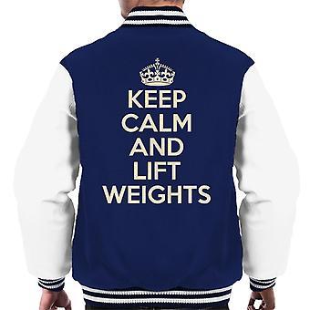 Bewahren Sie Ruhe und heben Sie Gewichte Männer Varsity Jacket