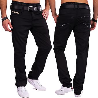 Men trousers shiny straight leg Five pocket pants elegant Coated Denim