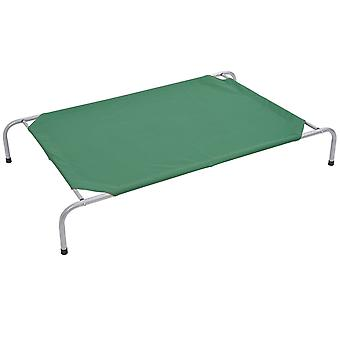 PawHut Pet Travel Bed Portable Folding Raised Steel Frame Cloth Cover Comfortable Dog Cat Green