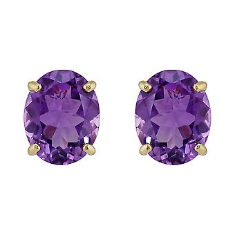 Gemondo 9ct Yellow Gold 4.00ct Oval Cut Natural Amethyst Classic Stud Earrings