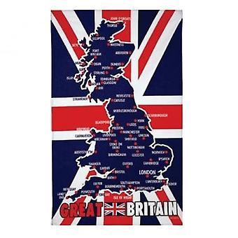 Union Jack käyttää Ison-Britannian kartta Keittiöpyyhe