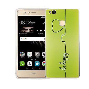 Handy Hülle für Huawei P9 Lite Cover Case Schutz Tasche Motiv Slim TPU + Panzer Schutz Glas 9H Be Happy Grün
