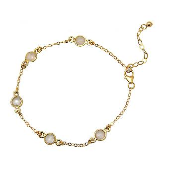 Quartz - 18 cm - rose - gold-plated ladies - bracelet - 925 sterling silver-